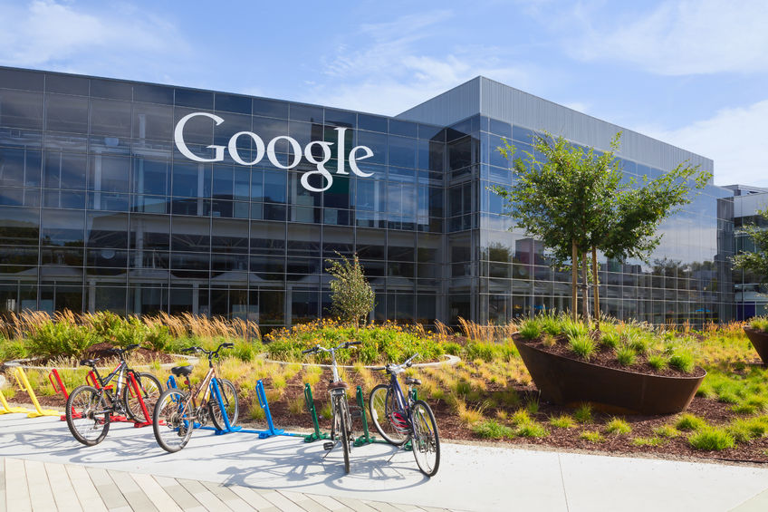 41053899 - mountain view, ca/usa - july 14, 2014: exterior view of a google headquarters building. google is an american multinational corporation specializing in internet-related services and products